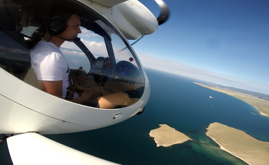 Air trip over Olkhon Island, Baikal